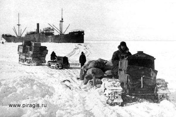 Первые тракторы Петропавловского совхоза на льду Авачинской бухты