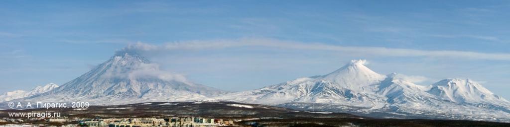 Вулкан Корякский — фумарольная активность с выбросом пепла